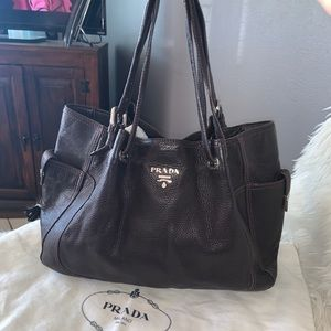 Auth Prada chocolate brown soft leather lg tote